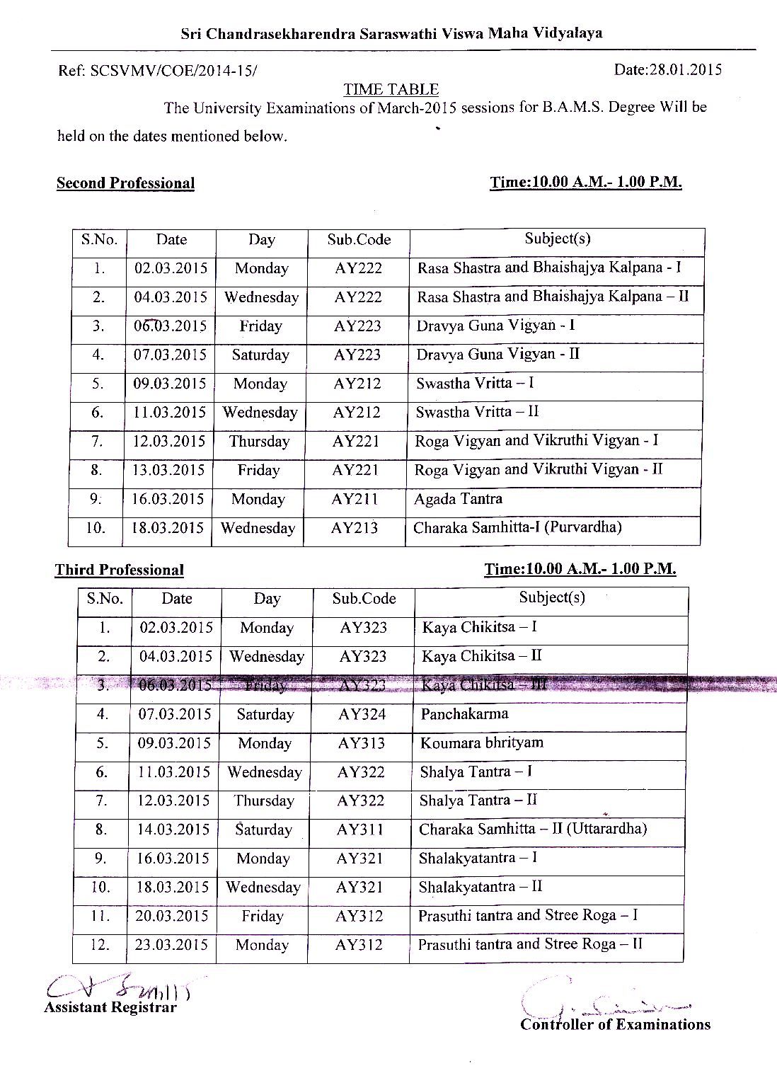 March 2015 session bams university examination time table for Tekerala org time table 2015