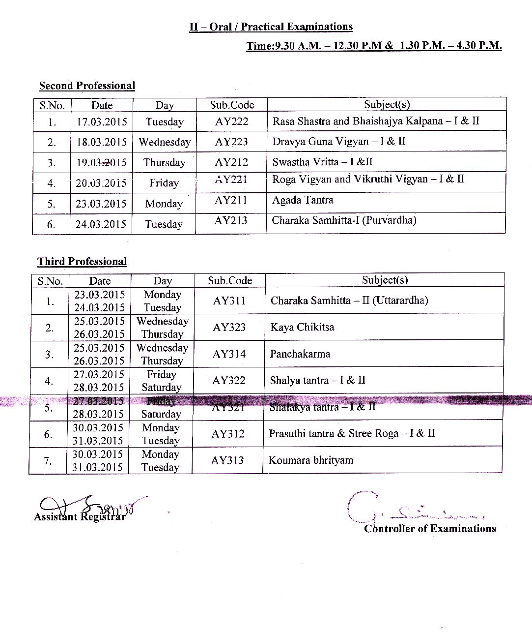 March 2015 session bams university examination time for Tekerala org time table 2015